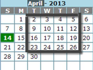 4 Square Calendar
