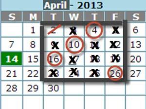 Calendar cross off
